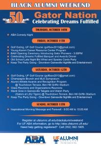 2013 UF Black Alumni Weekend Announcement Flyer - BACK