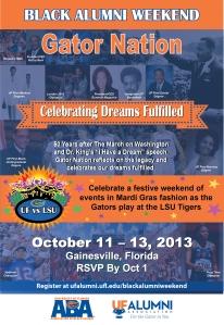 2013 UF Black Alumni Weekend Announcement Flyer - FRONT